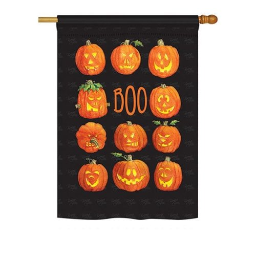 Breeze Decor BD-HO-H-112071-IP-BO-DS02-US 28 x 40 in. Seasonal Halloween Impressions Decorative Vertical House Flag - Pumpkins Boo Fall