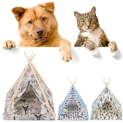 Foldable Linen Pet Dog House Washable Tent Puppy Cat Indoor Outdoor Teepee Mat