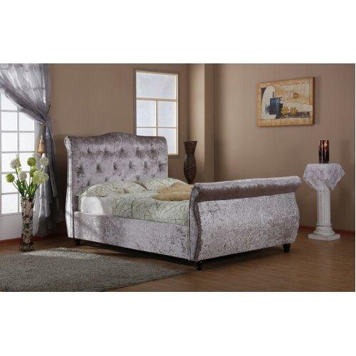 mayfair ottoman bedframe double silver crush velvet