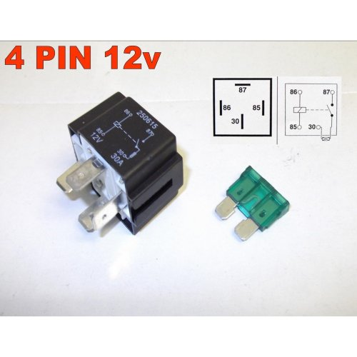 AUTOMOTIVE 4 PIN 12v 30Amp BLADE FUSED RELAY NORMALLY OPEN AUTOMOTIVE ( 28 )