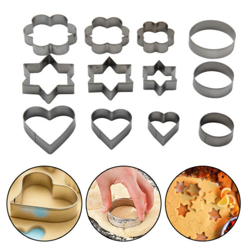 12Pcs Metal Biscuit Cookie Cutters Set Cake Mould Decorating Pastry Sugarpaste