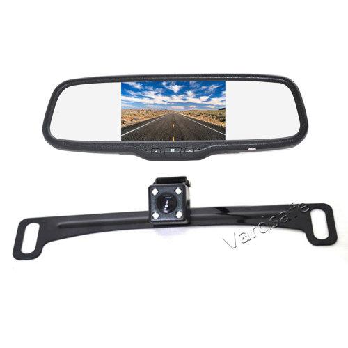 Vardsafe License Plate Rear View Reversing Backup Camera + Clip-on Mirror Monitor Kit for Car RV Truck SUV Van