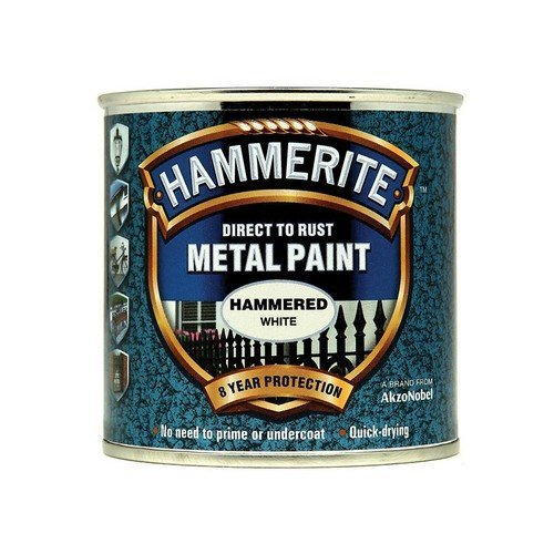 Hammerite HFW250 Direct to Rust Hammered Finish Metal Paint White 250ml