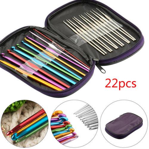 22 pieces/set Needles Crochet Hooks Multi Color Stainless Steel Knitting Needles