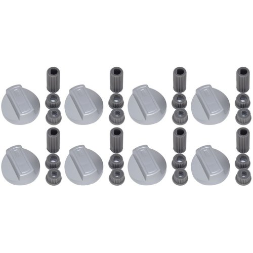 Universal Cooker Oven Grill Control Knobs And Adaptors Silver Fits All Gas Electric x 8