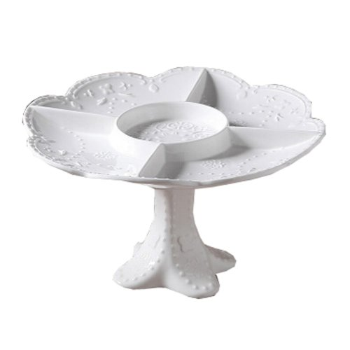 Ceramics Serving Dishes Trays Platters Candy Dishes Decorative Tray Nuts Plate 10.43x10.43x5.7 Inch