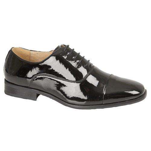 Goor Mens Patent Oxford Tie Shoe Black