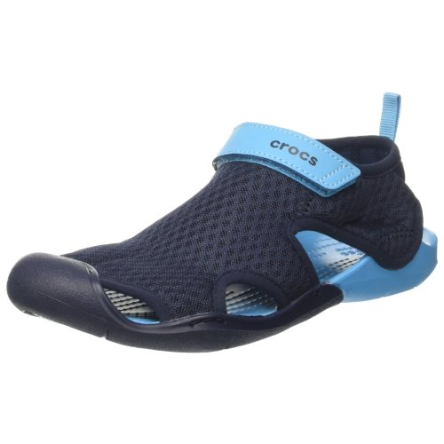 Crocs Women''s SwftwtrMshSndlW Wedge Heels Sandals, Blue (Navy), 38-39
