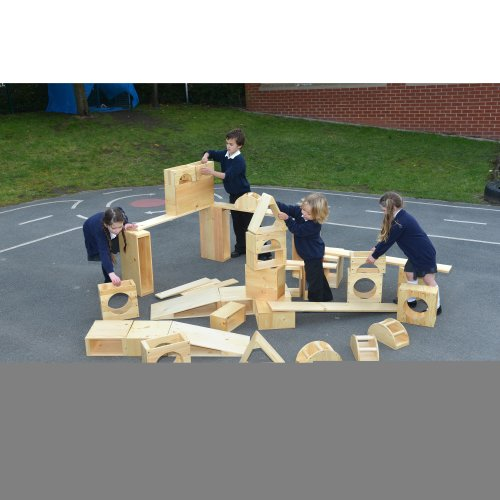 Childrens 40 Piece Giant Wooden Hollow Blocks Set