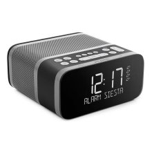 Siesta S6 Alarm Clock Radio by Pure - DAB+ and FM Radio with Bluetooth - 40 Presets - CrystalVue Display - USB Mobile Charging - 4 Alarms - Graphite