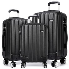 KONO Luggage Suitcase Trolley Case Travel Bag 4 Wheels Spinner Hard Shell ABS Black 20 24 28 Inch Set