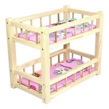 Childrens Wooden Toy Pine Bunk Bed for 2 Dolls w/ Mattresses & Pillows