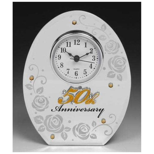 50th Wedding Anniversary Mirror and Clock Gift by Shudehill giftware