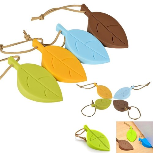 Gearmax® Silicone Door Stopper Wedge Finger Protector, 4 Pack Premium Cute Colorful Cartoon Leaf Style Flexible Silicone Window/ Door Stops set...