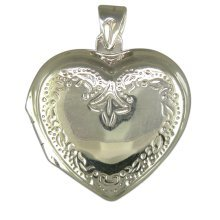 Sterling Silver Engraved Heart Locket On A Snake Necklace