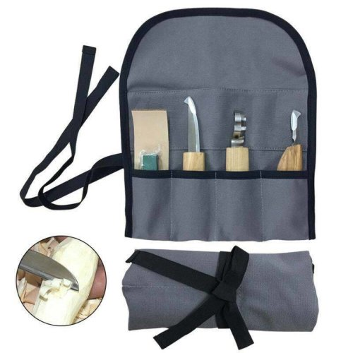 Wood Carving Tools, 5 piece Set Wood Sloyd Hook Detail Knife Professional Kit with Polishing leather Strop & Fabric Bag For WoodCraft, DIY Projects