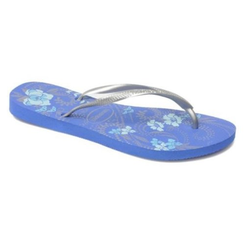 Havaianas Slim Season Azul Malibu Blue / Silver Flip Flops UK 5