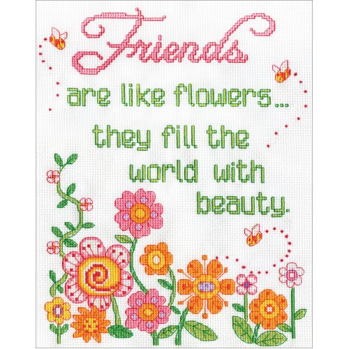 """Design Works Counted Cross Stitch Kit 8""""X10""""-Friends (14 Count)"""