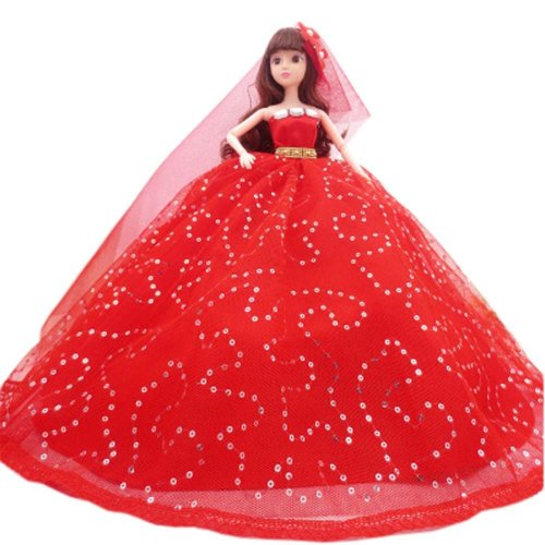 Elegant Dolls Wedding Party Dress Princess Clothes Dolls Outfits for Girl Birthday Gift, F