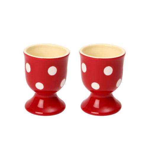 Dexam Set of 2 Polka Dot Egg Cups, Claret Red