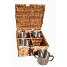 Drinks Basket 4 Mug Hamper in Dark Leather