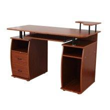 (Walnut) Homcom Wooden Office Desk | Desktop Computer Workstation