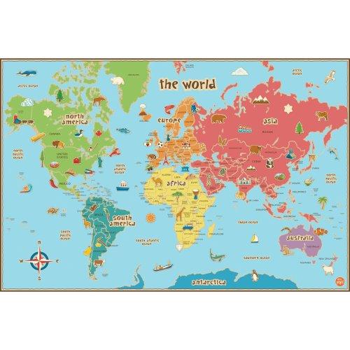 Wallpops Self Adhesive Kids World Map