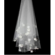 2M Long Single-layer Beads Fleuret Bridal Wedding Veil With Comb, Ivory White
