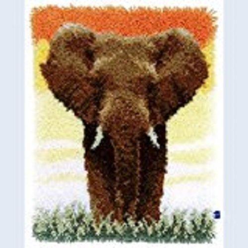 "Latch Hook Kit""Elephant in the Sunset"" 52x38cm"