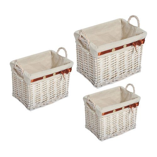 Homcom 3pc Storage Hamper Set | White Wicker Storage Baskets