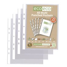 A5 CLEAR PUNCHED POCKETS PLASTIC SLEEVE WALLETS ECO012