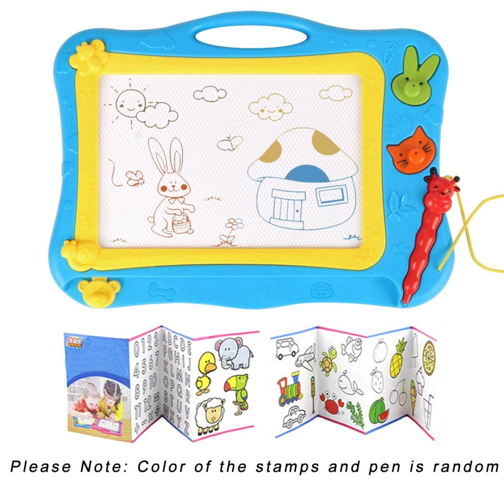 Dutison magnetic drawing board doodle sketch board for kids colorful sketching erasable pad with 2 stamps