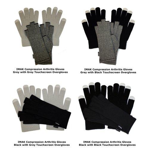 IMAK Compression Arthritis Gloves Black with Black Touchscreen Overgloves