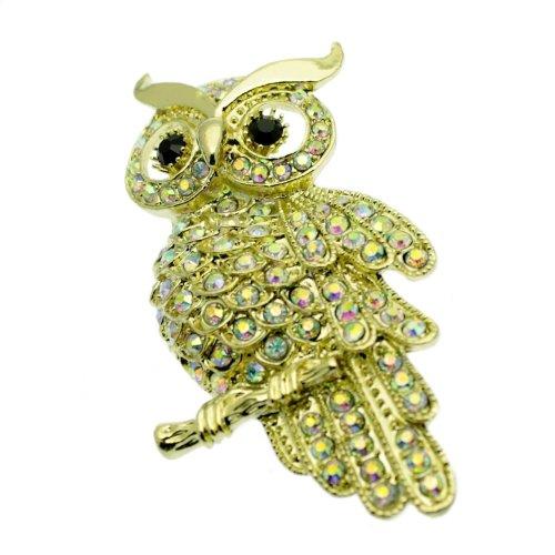 Owl Pin Brooch + Crystals, Vintage Design - Gold