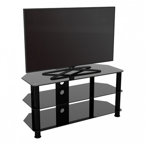 """King Glass TV Stand 100cm, Black Legs, Black Glass, Cable Management, for TVs up to 50"""""""