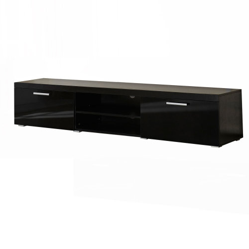 HOMCOM 2 Meter Long Modern TV Cabinet Low Bench Stand Unit 2 High Gloss Doors Shelves (Black)