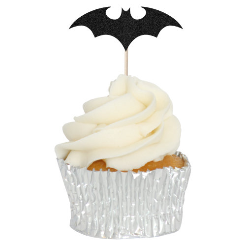 Black Bat Cupcake Toppers Picks - 12pk