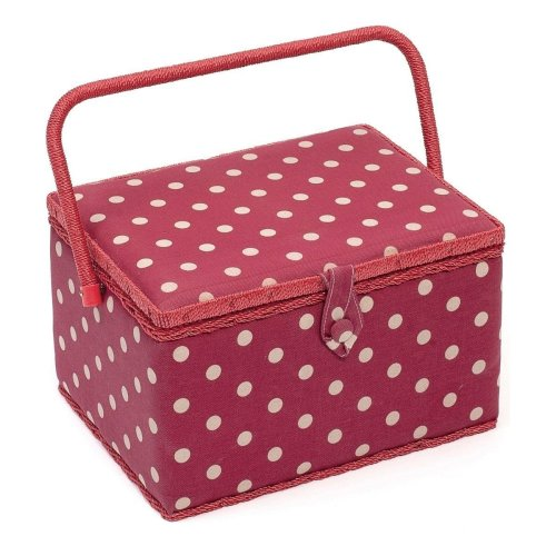 HobbyGift Large Sewing Box / Basket With Pincushion & Removable Tray - Dark Red Spot