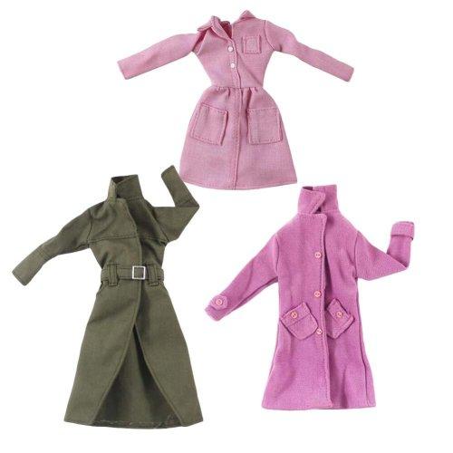 Random Color Handmade Doll Long Jacket for 30 cm Doll, 3 Long Coats