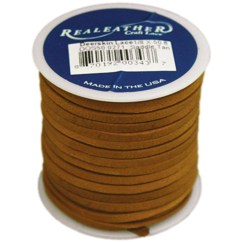 "Realeather Crafts Deerskin Lace .125""X50' Spool-Saddle Tan"