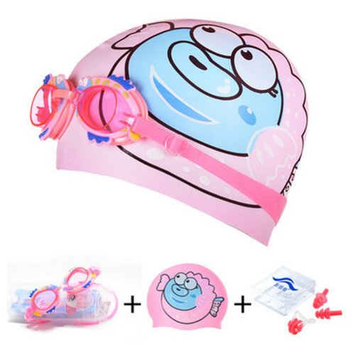 Puffer Pattern Childern Scuba Diving Free Diving Goggles & Swimming Cap, Pink