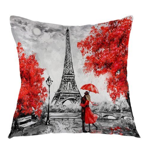 """Melyaxu Eiffel Tower Decorative Throw Pillow Cover Oil Paiting Romantic Love Autumn Maple Pillow Case Square Cushion Cover 18""""X18"""" Red Grey"""