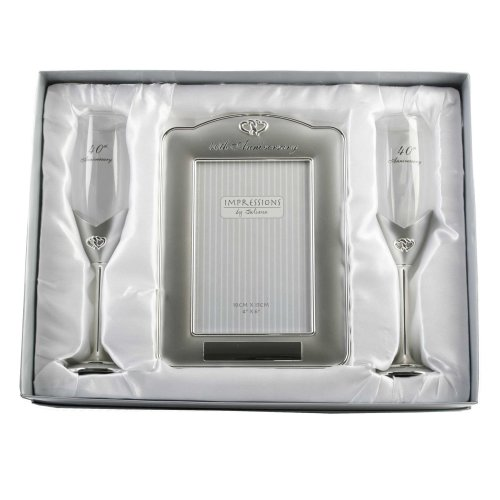 Silver plated 40th Anniversary Champagne Flutes and Photo Frame Set by Juliana