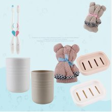 Couple Bear Wash&Bath Suit Of 7 Set Towel Toothbrush Toothbrush Cup Soap Box Holder
