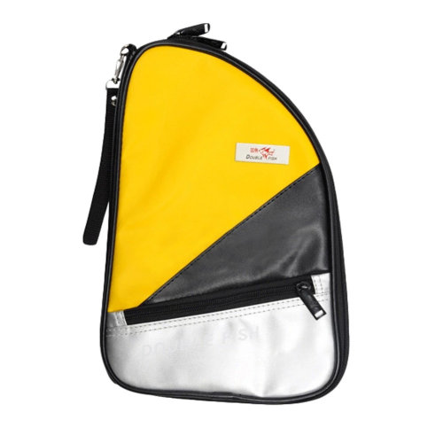 R Shape Artificial Leather Table Tennis Racket Cover Ping Pong Bat Bag(Yellow)