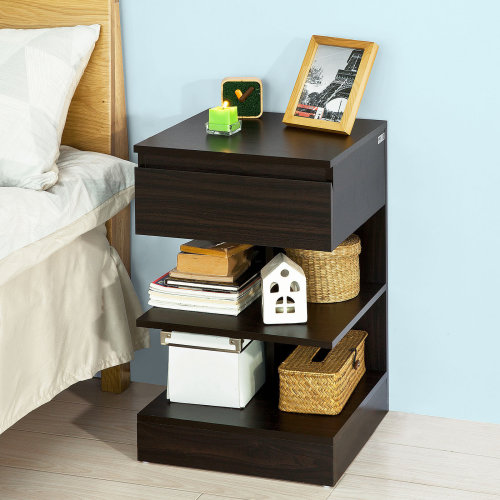 SoBuy® FBT49-BR, Bedside Table Night Stand Side Table End Table, Dark Brown