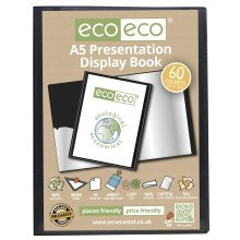 1 x A5 Recycled 60 Pocket(120 Views) Presentation Display Book - Black