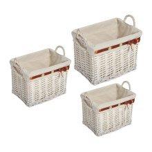Homcom 3pc Storage Hamper Set | White Wicker Storage Baskets