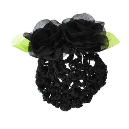 2PCS Kids / Girls Beautiful Hairnet Bowtie Barrette Hair Clip Snood Net Dance Hairdressing, E