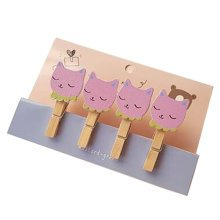 Creative Natural Wooden Lovely Photo Paper Peg Pin Craft Clips with 52CM Jute Twine, NO.8